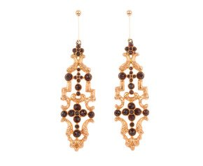 Vintage Continental Garnet Drop Earrings