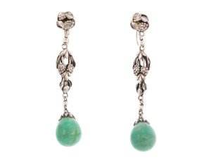 Antique Arts & Crafts Amazonite Screwback Earrings