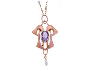 Antique Yellow Gold Art Nouveau Amethyst & Seed Pearl Pendant