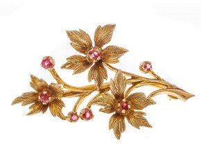 Vintage 1980's 9ct Yellow Gold Garnet Brooch