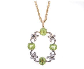 Antique Late Victorian 4.65ct Peridot & 0.35ct Diamond Pendant