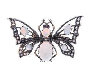 Vintage Silver Opal & Split Pearl Butterfly