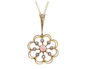 Antique 15ct Yellow Gold 0.20ct Opal & Split Pearl Flower Pendant