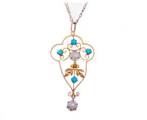 Art Nouveau 9ct Yellow Gold Turquoise & Blister Pearl Pendant