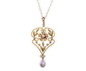 Antique Edwardian Cultured & Split Pearl Antique Pendant