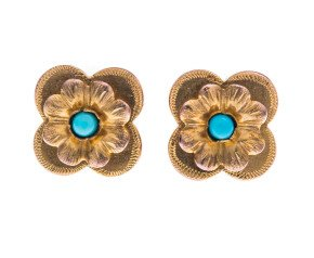 Victorian 9ct Gold Turquoise Forget Me Not Earrings