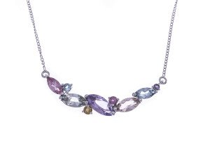9ct White Gold Multi-Gem Fancy Necklace