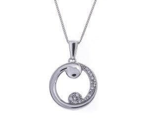 9ct White Gold 0.15ct Diamond Swirl Pendant