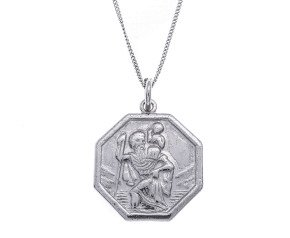 A 9ct White Gold St Christopher Pendant
