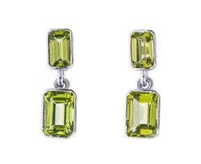 9ct White Gold 2.04ct Peridot Drop Earrings