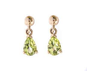 9ct Gold 0.80ct Peridot Pear Drop Earrings