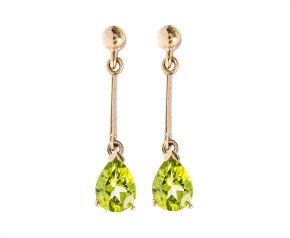 9ct Gold 1.60ct Peridot Pear Drop Earrings