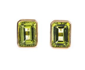9ct Gold 2.00ct Rectangular Peridot Solitaire Stud Earrings