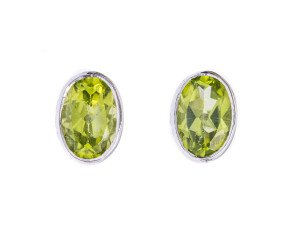 9ct White Gold 1.01ct Peridot Oval Solitaire Earrings