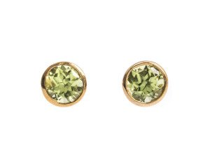 9ct Gold 0.50ct Round Peridot Solitaire Stud Earrings