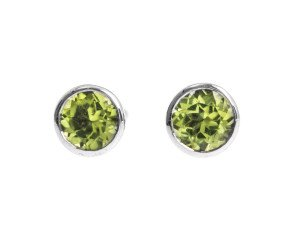 9ct White Gold Round 0.50ct Peridot Solitaire Stud Earrings