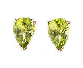 9ct Yellow Gold 1.60ct Peridot Pear Solitaire Stud Earrings