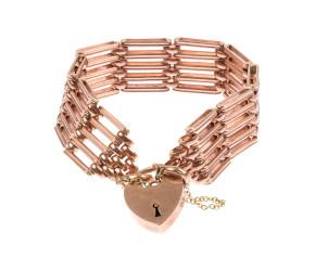 Vintage 1980's 9ct Rose Gold Gate Bracelet