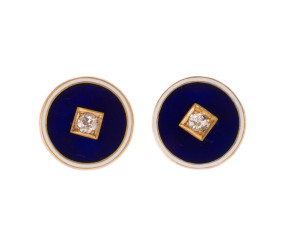 Antique 15ct Yellow Gold 0.20ct Diamond Enamel Stud Earrings