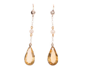 Vintage 6.00ct Citrine & Pearl Drop Earrings