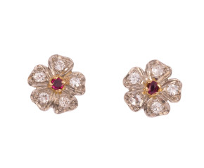 Pre-owned 0.35ct Diamond & Ruby Cluster Earrings