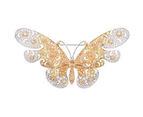 Sterling Silver Yellow & Peach Butterfly Brooch