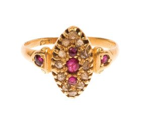 Antique Victorian 18ct Yellow Gold Ruby & Diamond Ring