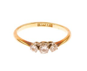 Vintage 18ct Yellow Gold & Platinum 0.25ct Diamond Three Stone Ring