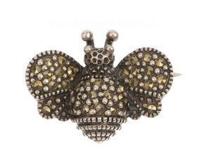 Vintage Silver Marcasite Bee Brooch