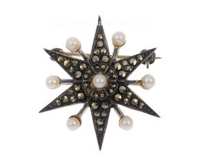 Antique Victorian Silver Pearl & Marcasite Star Brooch