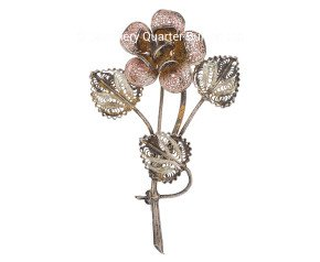 Vintage German Silver Flower Brooch