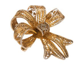 Vintage Silver Gilt Bow Brooch