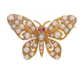 Vintage 1980 9ct Yellow gold Pearl & Ruby Butterfly Brooch