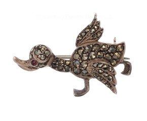 Vintage Silver Marcasite Duckling Brooch