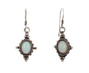 Pre-owned Synthetic Opal Drop Earrings