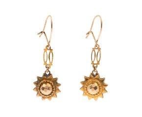 Antique 9ct Yellow Gold Fancy Drop Earrings