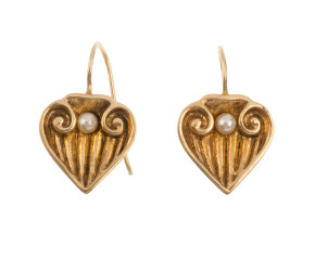 Early 20th Century Gold Plated Cultured Pearl Drop Earrings
