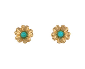 Vintage 9ct Yellow Gold Turquoise Flower Stud Earrings