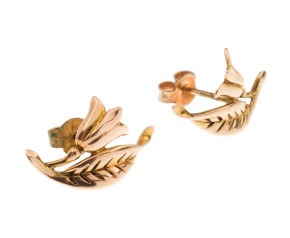 Vintage 1960's 9ct Gold Floral Stud Earrings