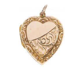 Antique Front & Back 9ct Yellow Gold Heart Locket