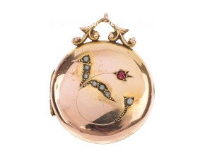 Antique Front & Back 9ct Gold Split Pearl Locket