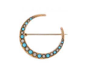Vintage 9ct Yellow Gold Turquoise & Split Pearl Crescent Brooch
