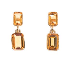 9ct Yellow Gold 1.19ct Citrine Drop Earrings