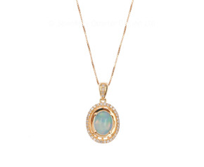 18ct Yellow Gold 0.84 Opal & Diamond Pendant