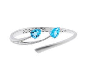 Sterling Silver & Rhodium Vermieil 4ct Topaz Shooting Star Bangle
