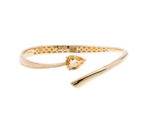 Sterling Silver & Yellow Gold Vermeil 1.60ct Citrine Shooting Star Bangle
