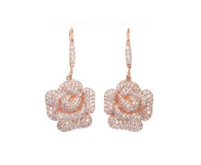 Sterling Silver & Rose Vermeil Cubic Zirconia Peony Bloom Earrings