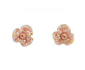 Sterling Silver & Rose Gold Vermeil Cubic Zirconia Peony Bloom Earrings