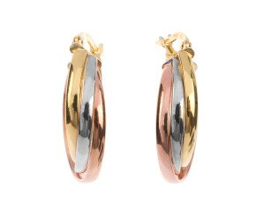 9ct Rose, White & Yellow Gold Creole Earrings