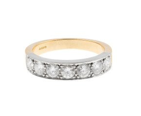 18ct White & Yellow 1.08ct Diamond Half Eternity Ring